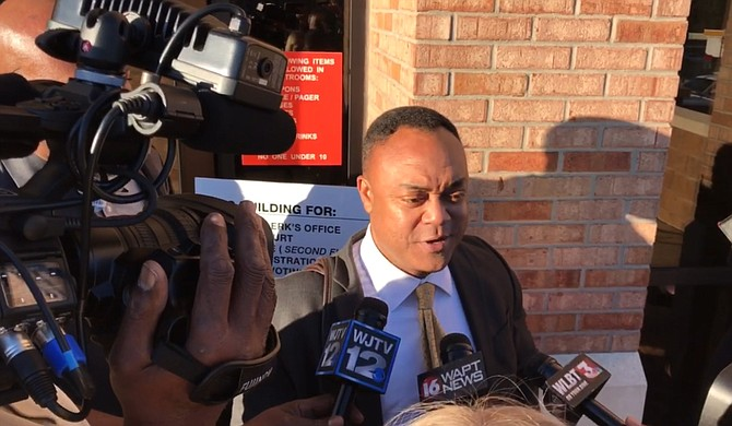 Hinds County District Attorney Robert Shuler Smith will face his third trial in two years, this time in Rankin County for charges of aggravating stalking and robbery. He is pictured here outside of the Rankin County Courthouse in October 2017.