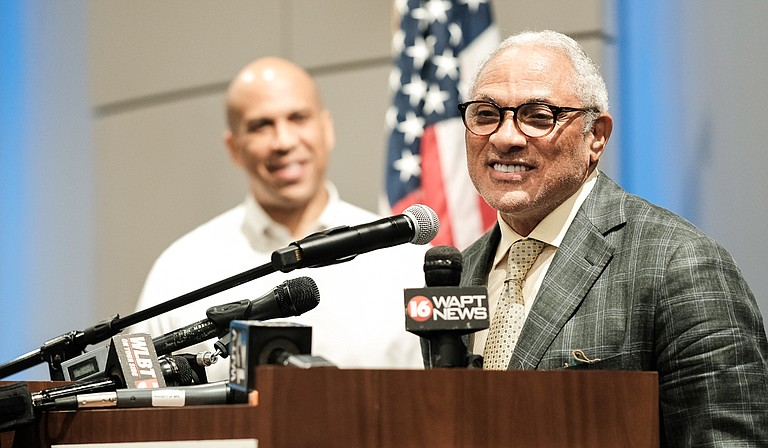 U.S. Sen. Cory Booker (left), D-New Jersey, who is one of only three currently serving African American U.S. Senators, joined Democratic U.S. Senate candidate Mike Espy (right) at a press event in June. Espy could become Mississippi's first black U.S. senator since the Reconstruction era, conservative columnist George Will predicted in a Washington Post column.