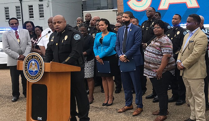 The Jackson City Council will consider Interim Police Chief James Davis the next permanent chief at a special meeting at 10 a.m. on Sept. 20, 2018. He is pictured here at an earlier press conference.