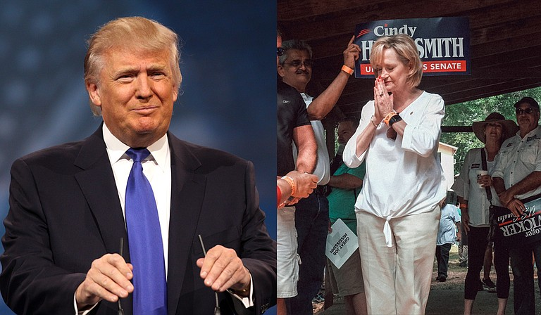 President Donald Trump (left) plans to join U.S. Sen. Cindy Hyde-Smith (right) at a rally for her election campaign in Southaven, Miss., on Oct. 2. In August, Trump endorsed her over her Republican rival, Mississippi State Sen. Chris McDaniel. Left photo: flickr/Gage Skidmore; right photo: Ashton Pittman
