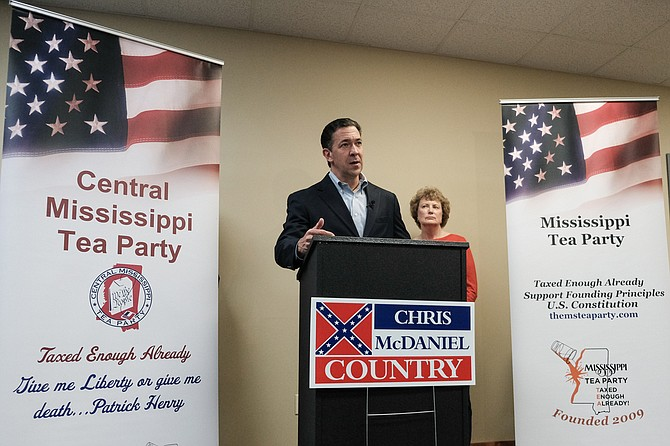 "Mississippi Tea Party Chairwoman Laura Van Overschelde endorsed Chris McDaniel's bid for U.S. Senate in Flowood, Miss., on Oct. 8, 2018. Months earlier, McDaniel called participants in women's marches ""unhappy"" ""angry instigators."""