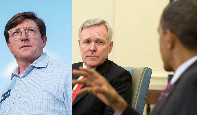 Former Mississippi Gov. Ray Mabus (right), who served as Secretary of the Department of the Navy under President Barack Obama, endorsed Democrat David Baria's (left) bid for U.S. Senate on Oct. 29. Photo courtesy Pete Souza/Official White House Photo