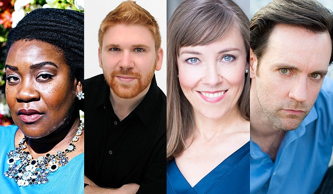 """(Left to right) Alexis Davis-Hazell, David Tayloe, Susan Williams and James Bobick join Paul Houghtaling (not pictured) for the Mississippi Opera's """"Hilarious World of Gilbert & Sullivan"""" at Duling Hall on Nov. 10. Photo courtesy Mississippi Opera"""