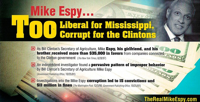 A series of GOP mailers misleadingly cast Democratic U.S. Senate candidate Mike Espy, who served as U.S. secretary of agriculture from 1993 to 1994 under President Bill Clinton, as a criminal.