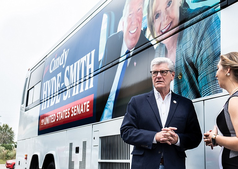 """In the final day before the election, Miss. Gov. Phil Bryant urged Republicans to support Sen. Cindy Hyde-Smith, pushing back against the idea that he was part of the """"establishment."""""""