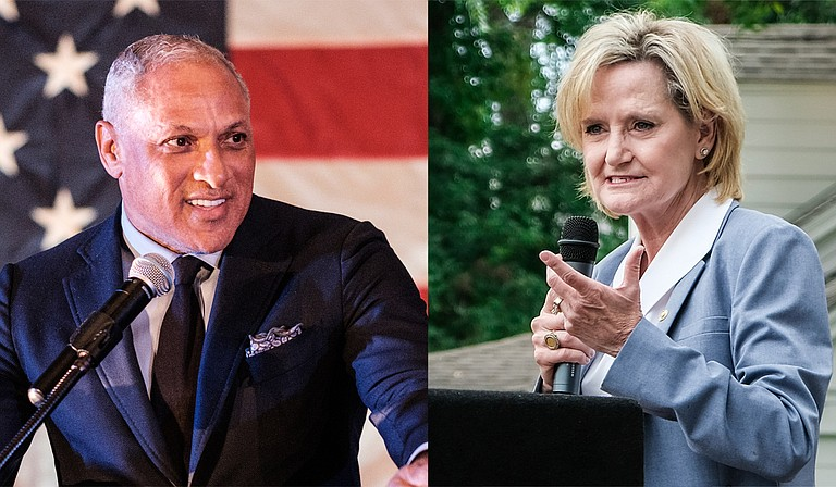 U.S. Senate candidate Mike Espy (left) will head to a runoff against incumbent Republican U.S. Sen. Cindy Hyde-Smith (right) on Nov. 27.