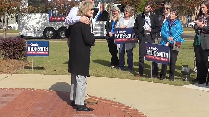 "U.S. Sen. Cindy Hyde-Smith said at a campaign event on Nov. 2, 2018, that she would be ""on the front row"" of ""a public hanging"" if invited. Video screenshot courtesy Lamar White Jr."