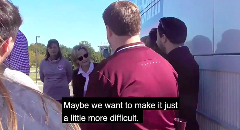 "In a video that surfaced Nov. 15, 2018, U.S. Sen. Cindy Hyde-Smith suggests making it ""more difficult"" for people in certain schools to vote. Courtesy Bayou Brief"