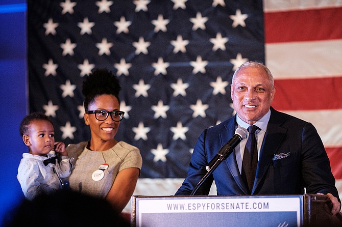 "U.S. Sen. Cindy Hyde-Smith accused her Democratic opponent, Mike Espy (pictured here with daughter Jamilla Espy and his grandchild), of ""mansplaining"" after he said he would be better for women. Photo by Ashton Pittman"