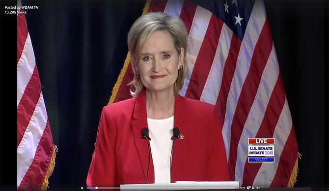 During the debate between U.S. Senate candidates Cindy Hyde-Smith and Mike Espy, Hyde-Smith accused Espy of discriminating against an employee who had a child with a pre-existing condition. Photo courtesy WLBT