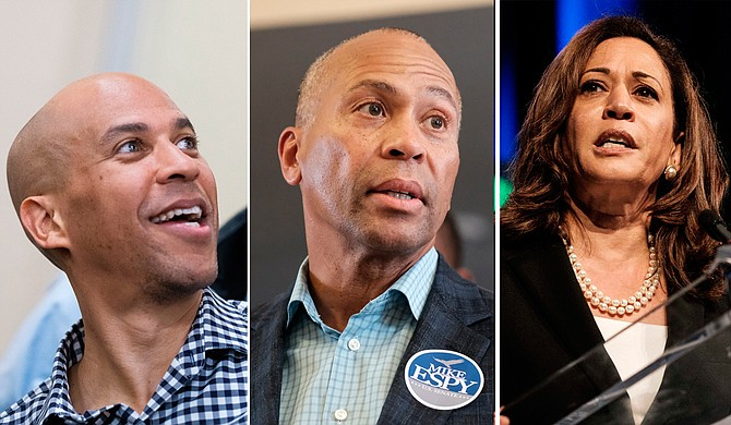 Though former Massachusetts Gov. Deval Patrick (center) has decided not to run for the Democratic nomination for president for 2020, others—like Sens. Cory Booker (left) and Kamala Harris (right)—are still considering it. Booker photo by William Pittman; Patrick and Harris photos by Ashton Pittman.