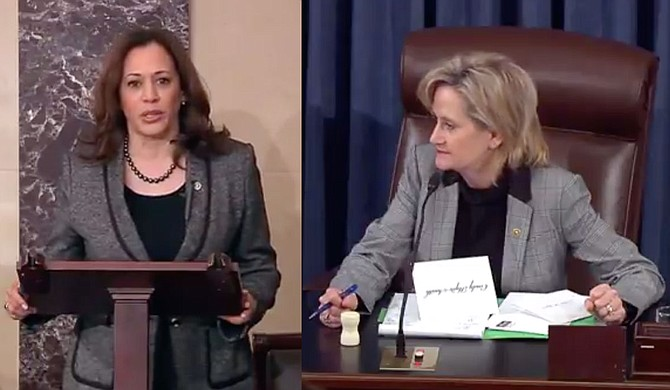 U.S. Sen. Cindy Hyde-Smith (right), R-Miss., presided over the U.S. Senate as it passed an anti-lynching law spearheaded by Sens. Kamala Harris, D-Calif. (left); Cory Booker, D-N.J.; and Tim Scott, R-S.C. Photo courtesy Sen. Kamala Harris/Twitter