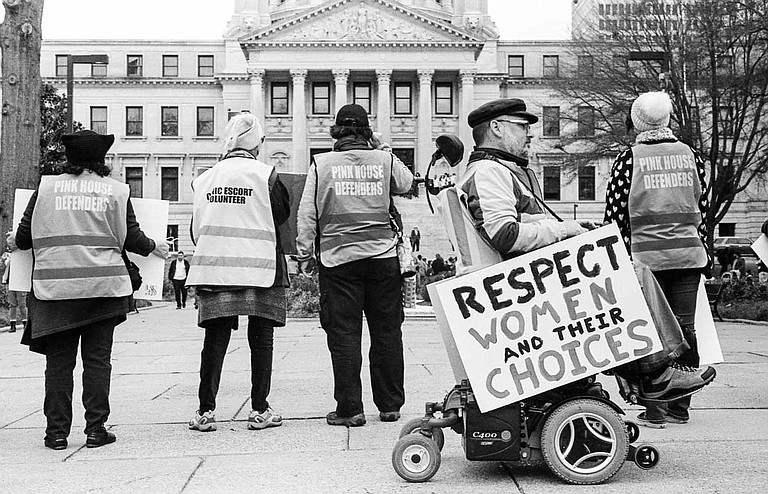 Abortion-rights supporters stage a counter protest against anti-abortion group Operation Rescue at the Mississippi State Capitol on Jan. 22, 2019.
