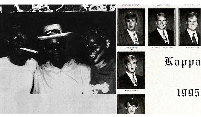 Photos from Millsaps College's 1993 through 1996 newspapers and yearbooks, when Lt. Gov. Tate was a student there, show members of his fraternity, Kappa Alpha, dressing in blackface and other racist costumes. Photos credit: Purple and White/Bobashela.