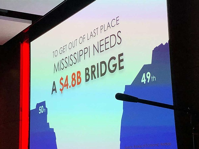 Mississippi currently ranks dead last in per capita income and needs $4.8 billion more in income per person to be able to rise to 49th place. That number breaks down to $1,600 per person.