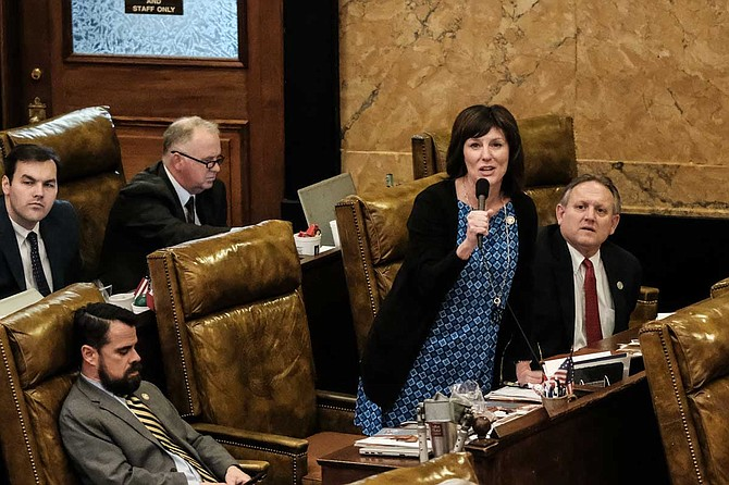 Rep. Missy McGee, R-Hattiesburg, speaks on the Mississippi House floor. She was the only Republican who voted against the six-week abortion ban.