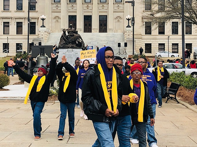 High-school students joined advocates for private-school subsidies at the Mississippi Capitol at a Jan. 22 rally that the Koch Brothers-funded Americans for Prosperity organized.