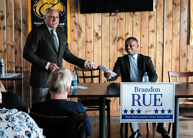 U.S. Senate nominee Mike Espy visited Hattiesburg, Miss., on Feb. 22 to offer his support and resources from his campaign to Brandon Rue, a Democratic state House candidate for District 102.