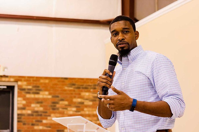 Tyrone Hendrix speaks at the Jackson Revival Center Church March 1 on the sense of urgency that lead him to help create OurJPS after the Mississippi Department of Education almost took over Jackson Public Schools. Photo by Taylor Langele