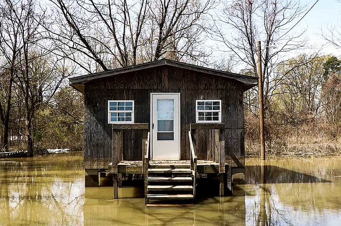 Homes near the Mississippi River Basin in Tchula were completely submerged in late February 2019, and residents are still waiting for water to recede before they return. Photo by Taylor Langele