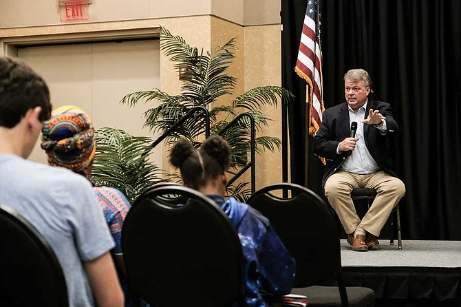 Mississippi Attorney General Jim Hood took questions from audience members at a town hall in Hattiesburg, Miss., on April 16, including from Anastassia Doctor, who asked him about old yearbook photos that showed members of his fraternity wearing blackface.