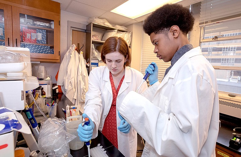 Murrah High School seniors Maggie Jefferis (left) and Kilando Chambers (right) do work as part of Base Pair, which pairs Murrah students on research projects with UMMC doctors. Photo by Jay Ferchaud/UMMC Photography