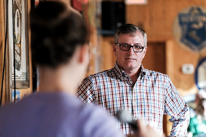 Mississippi state Rep. Jay Hughes, D-Oxford, a 2019 candidate for lieutenant governor, spoke and listened to Lamar County teachers at a town hall event at the Movie Star Restaurant in Hattiesburg on May 13, 2019.