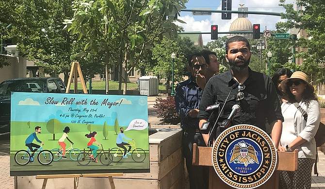 """At a press conference on May 20, Mayor Chokwe Lumumba announced """"Slow Roll with the Mayor!"""", where residents will be able to take a bike ride with the mayor on Thursday, May 23. Photo by Aliyah Veal"""