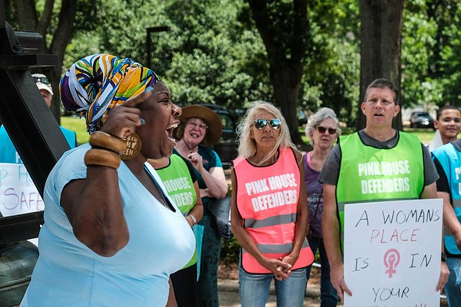 "Mississippi in Action Executive Director Valencia Robinson told a crowd of abortion rights supporters outside the Mississippi Capitol building on May 21 that she is ""pissed off"" over efforts to restrict women's rights in states all across the country."