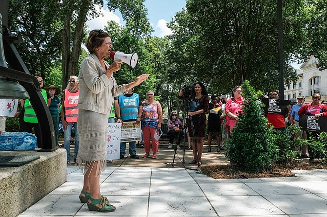Former state Sen. Gloria Williamson of Philadelphia, Miss., shared a story about a failed pregnancy that nearly killed her in 1963. She told the story at an abortion rights rally outside the Mississippi State Capitol building on May 23, 2019.