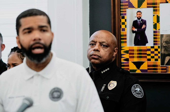 Jackson Mayor Chokwe A. Lumumba joined Police Chief James Davis at a press conference on May 28, 2019, where he defended JPD's handling of sexual-assault claims against Officer James Hollins, who committed suicide on May 27.