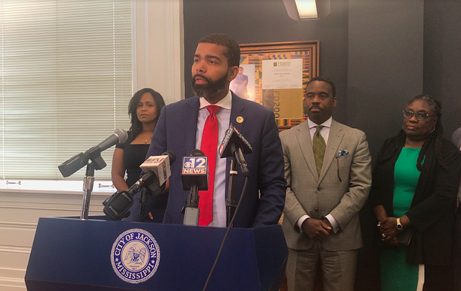 Mayor Chokwe A. Lumumba announced that the City of Jackson filed a lawsuit against Siemens Corp. and several local minority contractors at a press conference on June 11. Photo by Aliyah Veal