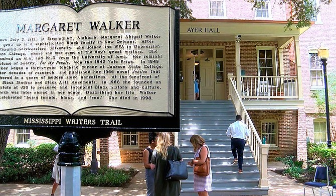 Margaret Walker's Mississippi Writers Trail marker is located at Jackson State University, where she was an English professor from 1949 to 1979 and was also known as Margaret Walker Alexander. Photo courtesy WLBT via AP