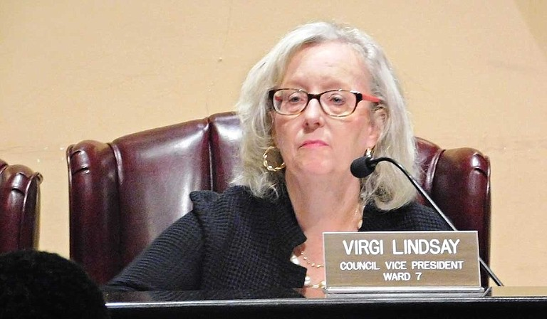 Ward 7 Councilwoman Virgi Lindsay wins 4-3 and becomes the new city council president at the Jackson City Council meeting on July 9. Photo by Josh Wright
