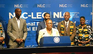 At a press conference on July 17, Mayor Karen Freeman-Wilson of Gary, Ind., welcomes delegates attending the National Black Caucus of Local Elected Officials summer conference in the city of Jackson. Photo by Josh Wright