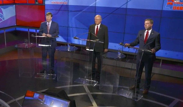 A televised forum Tuesday night was the only time Mississippi Lt. Gov. Tate Reeves has debated former Mississippi Supreme Court Justice Bill Waller Jr. and state Rep. Robert Foster before the Aug. 6 party primaries. Photo courtesy WJTV