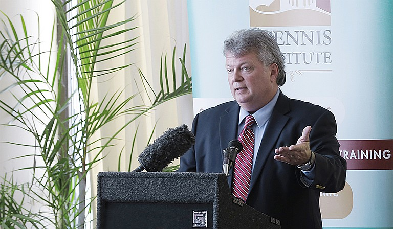 Fourth-term Attorney General Jim Hood, who is white, was courting African American voters in Mississippi's largest county, who will play an important part in deciding the eight-person Democratic primary on Aug. 6. Photo by Imani Khayyam