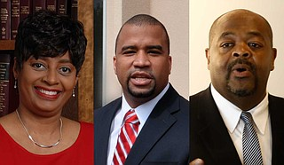 """Candidates Darla Palmer (left), Jody Owens (center) and Stanley Alexander (right) all agree that the justice system in Hinds County needs changes, with two even indicating that the system, where it currently stands, is """"broken""""—a characterization Palmer rejected in her recent Let's Talk Jackson Politics podcast. Photos by Trip Burns and Imani Khayyam"""