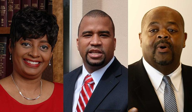 "Candidates Darla Palmer (left), Jody Owens (center) and Stanley Alexander (right) all agree that the justice system in Hinds County needs changes, with two even indicating that the system, where it currently stands, is ""broken""—a characterization Palmer rejected in her recent Let's Talk Jackson Politics podcast. Photos by Trip Burns and Imani Khayyam"