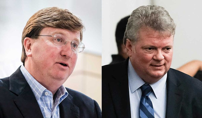 Republican Lt. Gov. Tate Reeves (left) continues to outraise and outspend all other candidates in the Mississippi governor's race, with Attorney General Jim Hood (right) raising and spending the most among Democrats in the race for the state's top job. Photo by Ashton Pittman