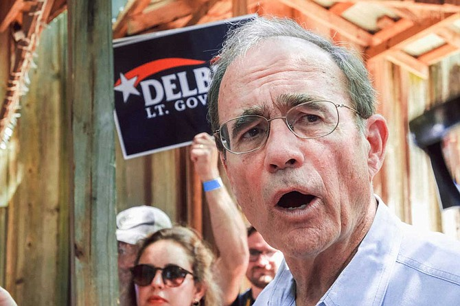 Mississippi Secretary of State Delbert Hosemann, a Republican, pitched his case for voters to make him lieutenant governor at the Neshoba County Fair on July 31, 2019. Photo by Ashton Pittman
