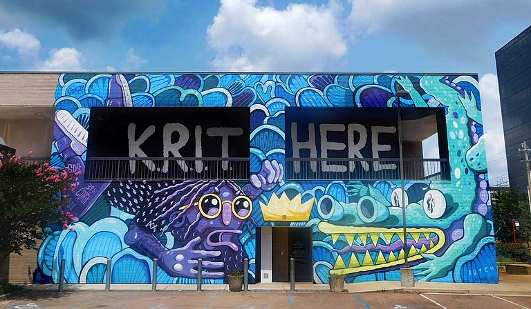 Birdcap, born Michael Roy, designed and painted a Big K.R.I.T mural on the side of the Arts Center of Mississippi in downtown Jackson. Photo by Josh Wright