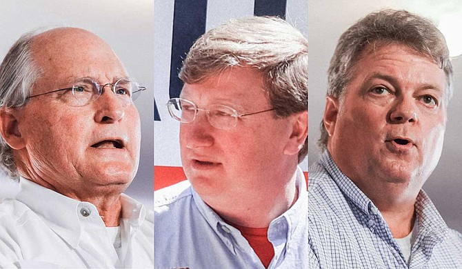 Fourth-term Attorney General Jim Hood (right) beat seven rivals to become the Democratic nominee for Mississippi governor, while on the Republican side, second-term Lt. Gov. Tate Reeves (center) faces a runoff in three weeks against former state Supreme Court Chief Justice Bill Waller Jr. (left) Photo by Ashton Pittman