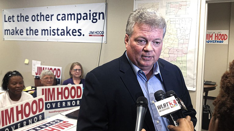 Democratic nominee for Mississippi Gov. Jim Hood speaks to members of the press at his campaign headquarters after Lt. Gov. Tate Reeves wins the GOP runoff for governor on Aug. 27, 2019. Photo by Ashton Pittman