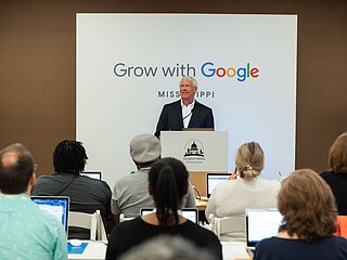 """U.S. Sen. Roger Wicker, a Mississippi Republican, delivers opening remarks at the """"Grow with Google"""" workshops at the Quisenberry Library in Clinton, Miss., on August 26, 2019. The event is part of a nationwide initiative by Google to train Americans in digital skills. Photo courtesy Google"""