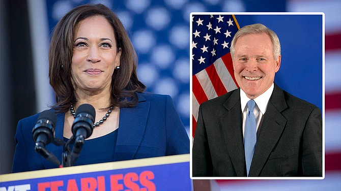 Former Mississippi Gov.Governor Ray Mabus (inset right) endorsed U.S. Sen. Kamala Harris (left) in the Democratic Party's presidential primary in a Friday statement that her campaign sent out to members of the press. Harris courtesy Kamala Harris for the People. Mabus photo courtesy United States Navy.