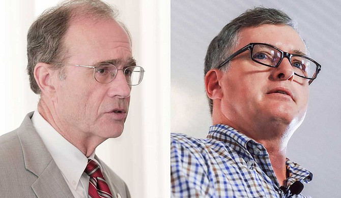 Mississippi Secretary of State Delbert Hosemann (left), the Republican nominee for lieutenant governor, and Mississippi House Rep. Jay Hughes (right), the Democratic nominee, took part in a 30-minute televised debate on Sept. 12, 2019. Photo by Ashton Pittman