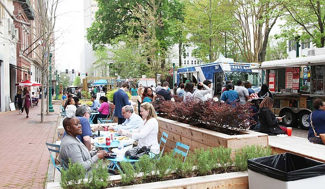 Jackson's PARK(ing) Day will take place from 4 p.m. to 9 p.m. near the Congress Street parklet in downtown Jackson. Congress Street between Yazoo and Capitol streets, as well as Amite Street between President and West streets, will be closed for the day. Photo courtesy Jackson Department of Planning and Development