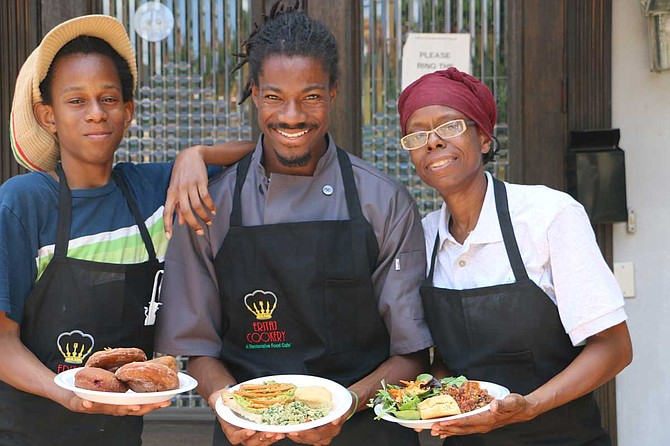 Salu Binahtabor, D.J. Baker and Felicia Bell are partners at Eritaj Cookery, a Restorative Food Cafe in the Kundi Compound in midtown. Photo by Rebecca Burr