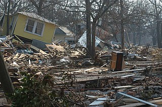 Climate-change science warns of more devastating hurricanes such as Katrina, which devastated Mississippi's Gulf Coast in August 2005. Photo courtesy FEMA
